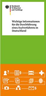"""Titelbild des Flyers """"Wichtige Informationen für die Durchführung eines Asylverfahrens in Deutschland"""