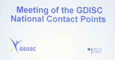 Präsentationsfolie mit dem Text: Meeting of the GDISC National Contact Points